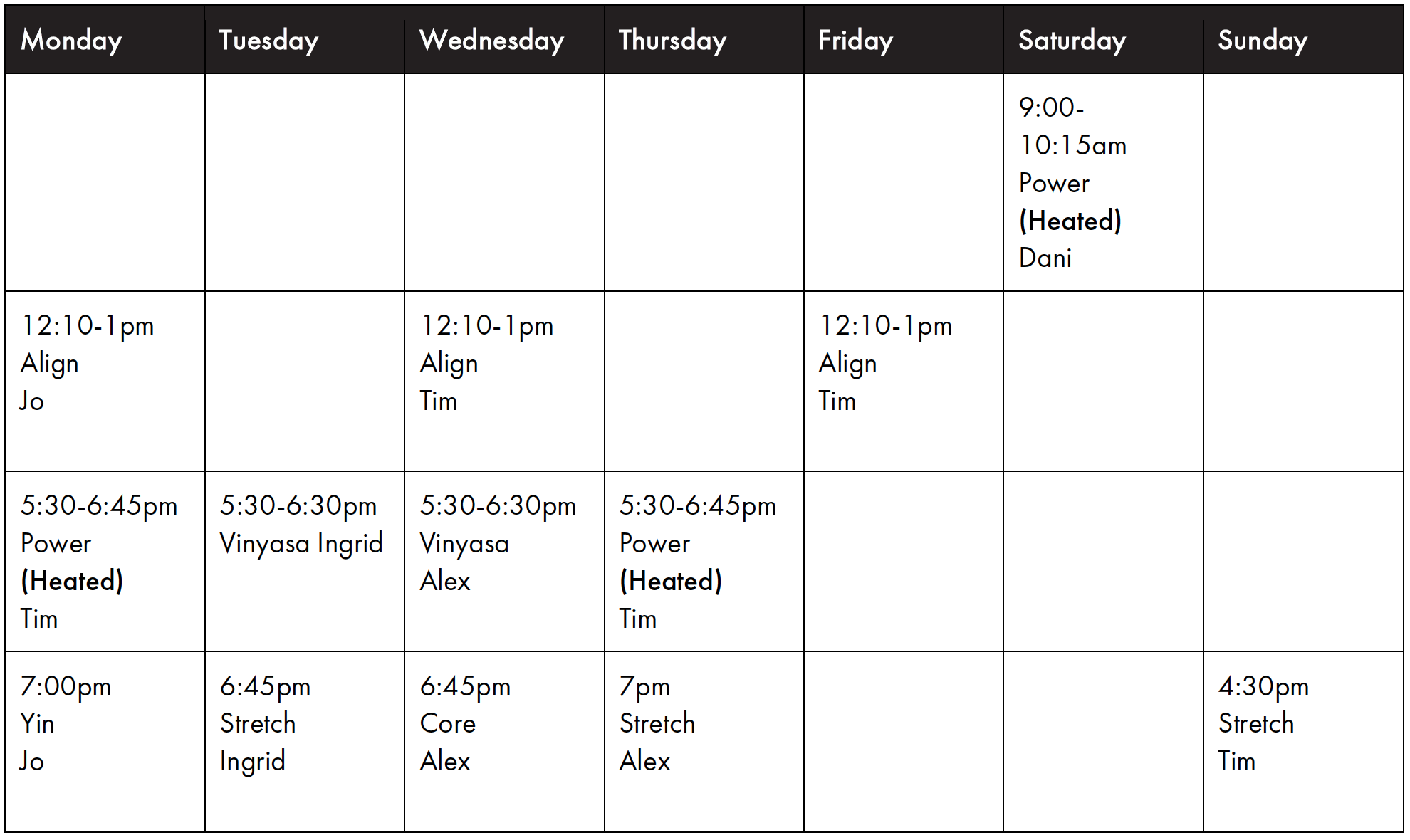 The Loft Studio - Central - Timetable