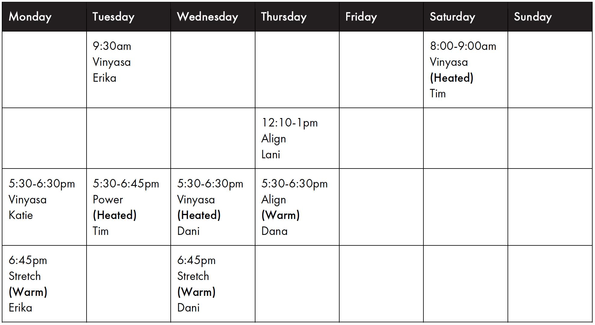The Loft Studio - Kamo - Timetable